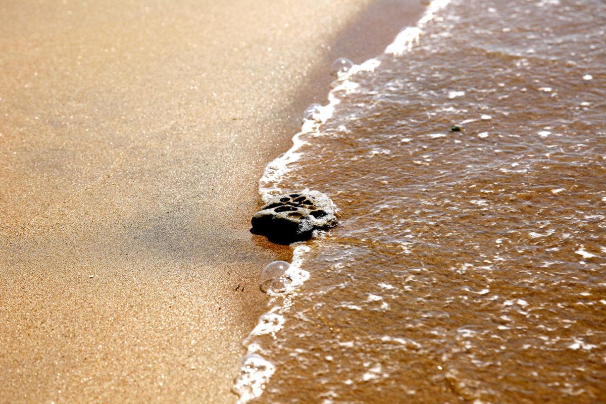 Galet sur la plage poli par le ressac des vagues